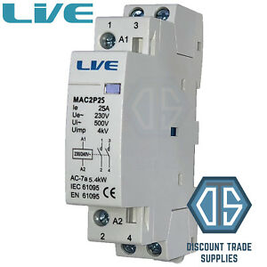 25 Amp 2 Pole Contactor AC 5.4kW Normally Open DIN Rail Mount Heating Lighting 5060316234662