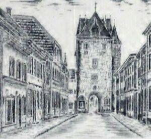 Georg-Heinrichs-1954-Radierung-Mini-Radierung-DAS-KUHTOR-VON-KEMPEN