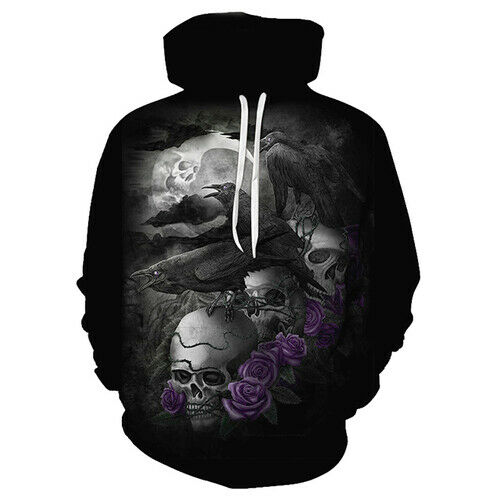 Vente chaude style 3D Imprimé Horreur Crow Skull Femmes Hommes Hoodies Pullover Sweatshirts
