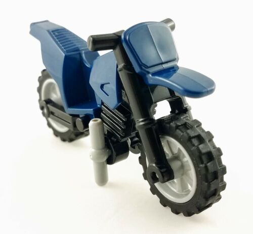 LEGO Dark Blue Motorcycle Dirt Bike Light Grey Rim Part 50860c11 Custom Combo