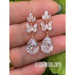 Shiny Teardrop CZ Cubic Zirconia Cluster Wedding Bridal Prom Earring UK New