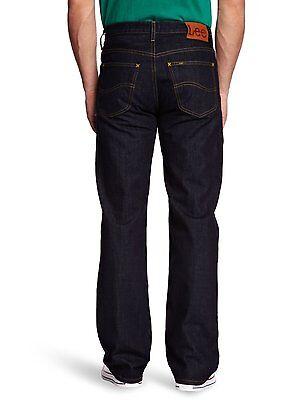 New Men's Lee Brooklyn Jeans One Wash Dark Blue Regular Fit Comfort Leg Denim