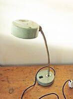 "Vintage large 20"" gooseneck green lamp industrial machinist enamel rewired"