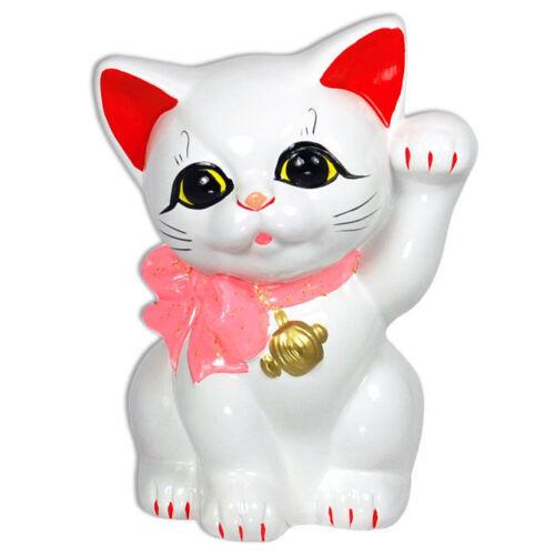 """Japanese 6/"""" H Ceramic Maneki Neko Welcome Cat w// Pink Ribbon Beckoning Coin Bank"""