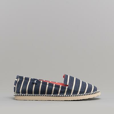 Joules FLIPADRILLE Ladies Canvas Slip On Espadrille Shoes Dark Blue Floral