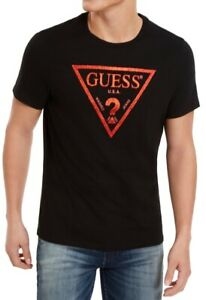 Guess-Mens-T-Shirt-Black-Size-2XL-Metallic-Foil-Caviar-Logo-Crewneck-Tee-34-053
