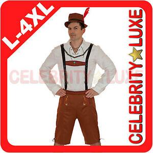 New-Mens-Oktoberfest-Lederhosen-German-Bavarian-Beer-Brown-Fancy-Dress-Costume