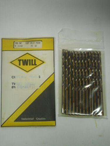 "12 pc TWILL 11//64/"" Jobber Length Twist Drills bits Cobalt 135 Degree Split Point"