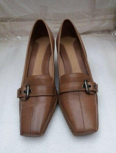 Uk Clarks chiaro e blocco marrone scarpe sul 4 in Comode Ladies con pelle medio tallone tacco 4qaR4CFwx