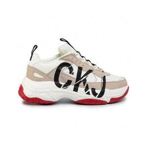 Calvin-Klein-Mizar-Low-Top-Lace-Up-Sneaker-Uomo-B4S0651-100-Bright-White-Stone