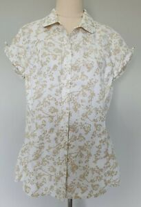 Kathmandu-Size-12-Casual-White-Tree-Print-Active-Hiking-Cap-Sleeve-Button-Up-Top