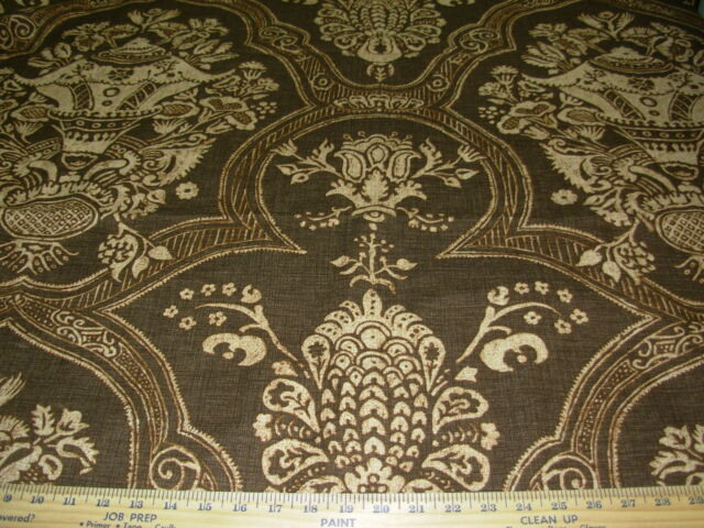 """~25 YDS~VICTORIAN """"JACOBEAN"""" BROWN~COTTON UPHOLSTERY DRAPERY FABRIC FOR LESS"""