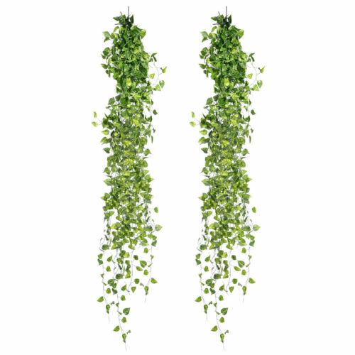 12 x künstliche Seidenpflanze Efeu Kunstpflanzen Efeugirlande Efeuranke 200cm