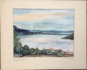 Aquarell-Landschaft-am-Baldeneysee-Werden-signiert-antik-selten-feine-Arbeit