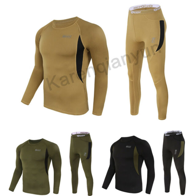 Men's Thermal Body Suit Set Long Sleeve Base Layer Underwear Outdoor Quick Dry