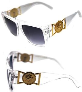 74ed8341575 424 Medusa Gold Metal Logo Coin Flat Top Sunglasses Metal Retro ...