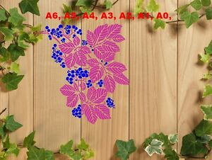Berries-and-Leaves-Stencil-350-micron-Mylar-not-thin-stuff-FL007