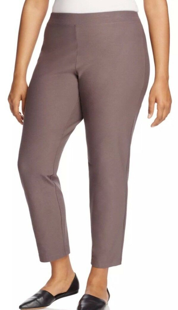 1X  EILEEN FISHER Cobblestone Washable Stretch Crepe Slim Ankle Pants NWT