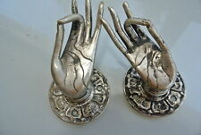 2 CUTE  finger Buddha Pull handle SILVER brass door old style HAND knob hook