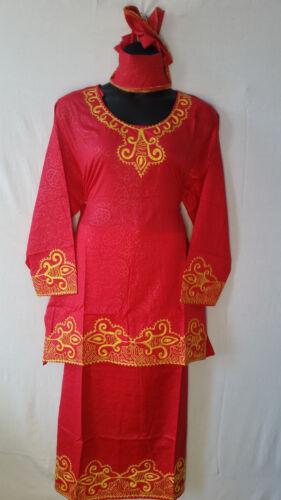 Women Clothing African Dashiki Skirt Suit Attire Red Free Size Print # 9170