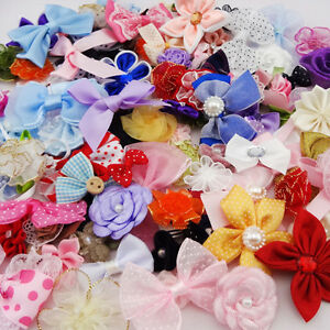 50pcs Ribbon Bows Flowers Appliques Craft Lots Mix F87