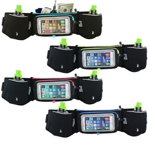 Running-Hydration-Belt-Water-Bottles-Smartphone-Touchscreen-Pockets-Mens-Womens