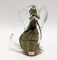 NEW GCA GOLD+BLACK MURANO STYLE HANDMADE ART GLASS DOG FIGURINE