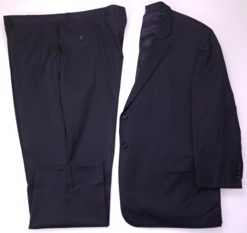 Pronto Uomo Suit 54R Suit Gray Pinstriped Wool 2 Button Mens Size Flat Front Sz