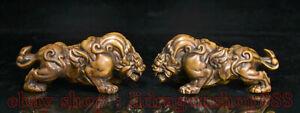 """4.8 """"vieux buis chinois bois sculpté feng shui animal forte bête statue paire"""