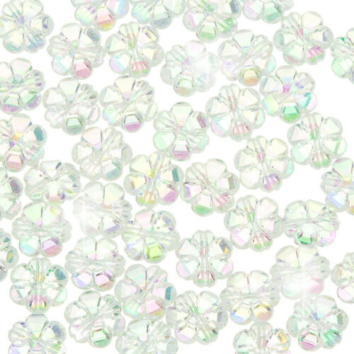Acrylique Fleur poney perles 10 mm TRANS. Clear AB F107//2 PK50
