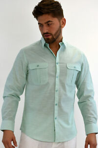 L//S Shirt Mens Bohio 100/% Cotton Grey Casual Button Down 2 Pkt - MCS470 S~2XL