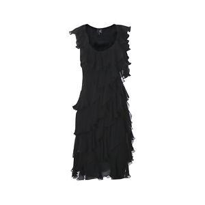 Just-Cavalli-Asymmetric-Ruffle-Dress-Prom-Laces-Scoop-Sleeveless-Size-42-Black