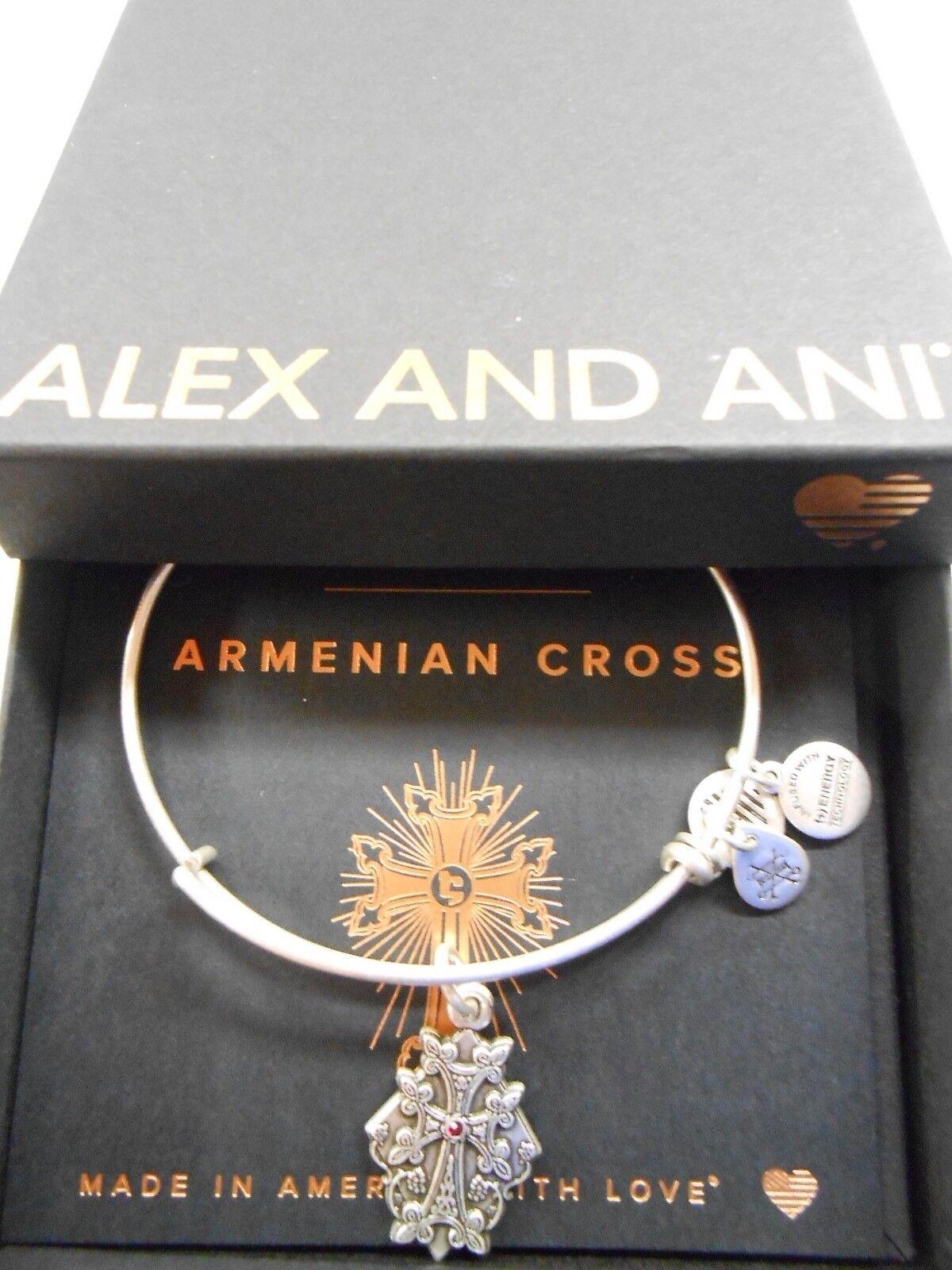 ALEX and ANI ARMENIAN CROSS IV Russian Silver Charm Bangle New W//Tag Card /& Box