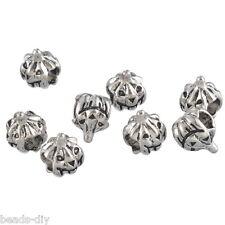 10PCs Silver Tone Halloween Pumpkin  Beads Christmas Tree Bracelet Beads XMAS
