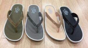 f572f18018ff7b ladies womens new ella toe post sandals low wedge diamante flip flops