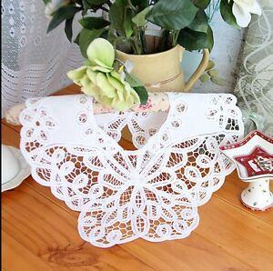Beautiful Floral Hand Batten Lace Button White Cotton Collar