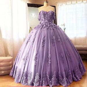Purple Lace Prom Quinceanera Dress Applique Off Shoulder Sweet 15 Party Gowns