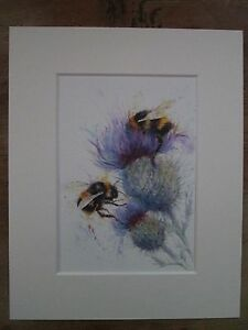 Watercolour-2-Bees-on-thistles-print-of-original-painting-in-10-034-x-8-034-Mount