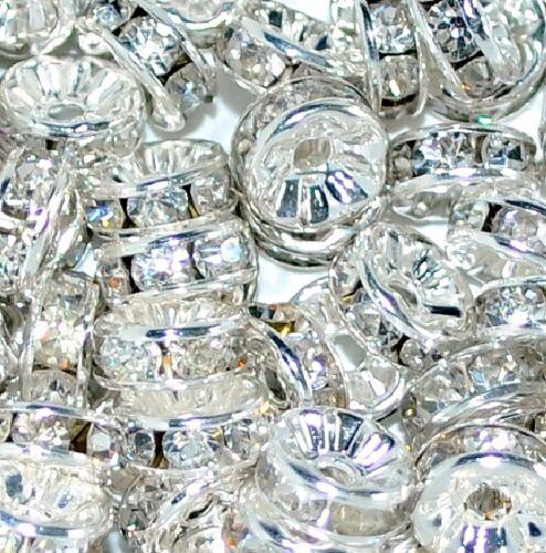 Bon état Verre Or//Argent Strass Blotter Spacer Beads en tailles et couleurs