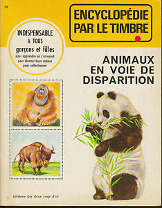 Soft-Cover-French-Book-Encyclopedie-par-le-Timbre-Animeaux-Voie-de-Disparition
