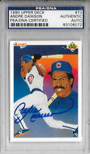 ANDRE DAWSON Signed 1990 UPPER DECK Chicago CUBS MLB Baseball CARD #73 Expos PSA