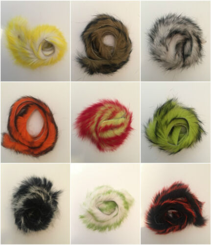 MICRO ZONKER RABBIT FUR STRIPS 9 2-TONE COLORS FLY TYING FLYNSCOTSMAN TACKLE