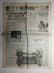 N437-La-Une-Du-Journal-Le-Matin-26-27-decembre-1942-le-felon-Darlan-est-execute