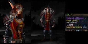 🔥 World of Warcraft - RED TABARD OF FLAME WoW TCG LOOT Landro Longshot US / EU