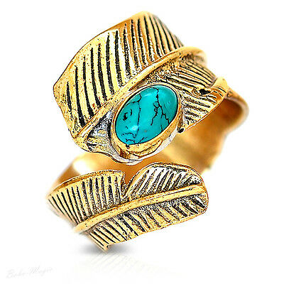 Turquoise Leaf Ring Gold Tone Brass Jewelry Gemstone Handmade Vintage Adjusable