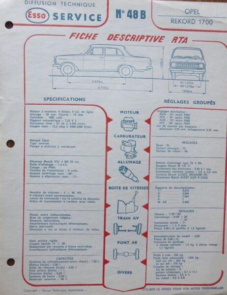 Initiatief Fiche Technique Automobile Rta Opel Rekord 1700 Esso N° 48b Hoge Standaard In Kwaliteit En HygiëNe