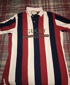 Gucci Baiadera Striped Polo 100 Authentic Sz Large Logo Supreme Ebay