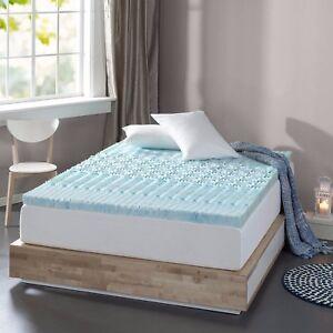 Memory Foam Mattress Topper 3 Blue Gel Comfortable Bedrooms Bed Spa