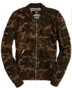 c8b5ed8db61 Superdry Men s Brown Camo Rookie Duty Fleece Lined Bomber Full Zip ...