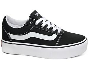 buy popular 54d76 0726b Details zu Vans Ward Platform Canvas Damen Sneaker Black White Schwarz  VN0A3TLC1871 Plateau